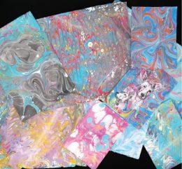 Marmoleado de papel con tintas y médium Liquitex