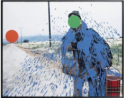 John Baldessari, Hitchhiker (splattered Blue) 1999